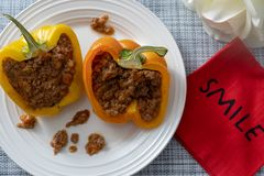 Beef stuffed bell peppers stock photos