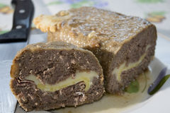 Beef stuffed meat loaf Stock Images