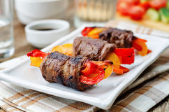 Beef stuffed peppers, carrots and onions with balsamic dressing Royalty Free Stock Photo
