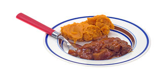 Beef and sweet potato TV dinner on plate Royalty Free Stock Image
