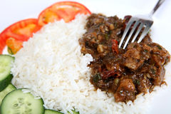 Beef szechuan with fork Royalty Free Stock Photo