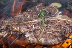 Beef t-bone steak on garden grill Stock Photos