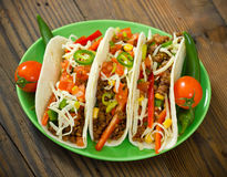 Beef taco on the plate royalty free stock images