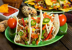 Beef taco on the plate. With vegetables Stock Photo