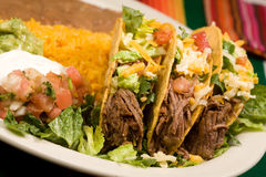 Beef Tacos. On plate with lettucen stock image