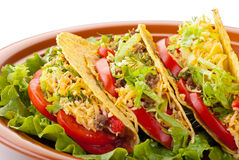 Beef tacos with salad and tomatoes salsa. Closeup of beef tacos served with salad and fresh tomatoes salsa on white background stock photos