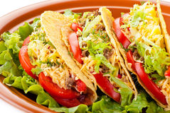 Beef tacos with salad and tomatoes salsa stock image