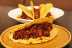 Beef tacos, tex-mex mexican food Royalty Free Stock Images