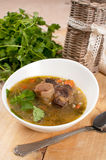Beef tail soup with parsley and barley Royalty Free Stock Images