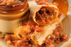 Beef tamales and salsa. A plate of beef tamales and salsa royalty free stock photo