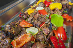 Beef tandoori kebab meat at an indian restaurant buffet Royalty Free Stock Photos