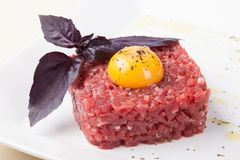 Beef tartar with egg Royalty Free Stock Image