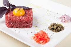 Beef tartar with egg Stock Images