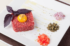 Beef tartar with egg Royalty Free Stock Photography