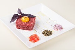 Beef tartar with egg Royalty Free Stock Photo