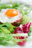 Beef tartar with fried egg Royalty Free Stock Photos