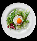 Beef tartar with fried egg Royalty Free Stock Images