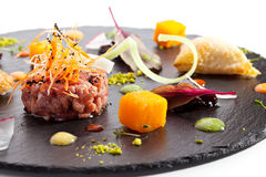 Beef Tartare on Black Stone Royalty Free Stock Photography