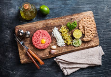 Beef tartare on cutting board Royalty Free Stock Images