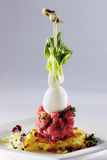 Beef tartare. Decorated beef tartare egg lettuce Royalty Free Stock Photo