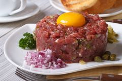 Beef tartare with egg and vegetables closeup. Horizontal Royalty Free Stock Image