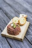 Beef tartare with pickle and crouton Royalty Free Stock Photo