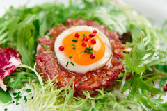 Beef tartare in plate. Close-up royalty free stock image