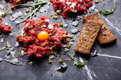 Beef tartare with toasts Stock Photography