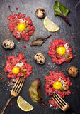 Beef tartare.  Top view. See series Stock Photography