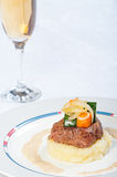 Beef tenderloin with mash potatoes and buttered vegetables Royalty Free Stock Photo