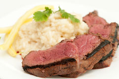 Beef tenderloin with risotto Royalty Free Stock Photo