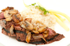 Beef tenderloin with risotto Royalty Free Stock Photography