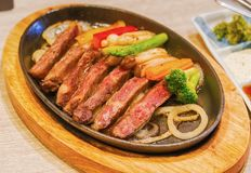 Beef Teppanyaki recipe Japanese Steak. Beef Teppanyaki recipe.Japanese Steak Royalty Free Stock Photography