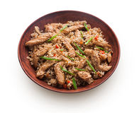 Beef teriyaki with rice bowl isolated at white background Stock Photos