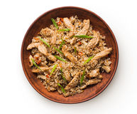Beef teriyaki with rice bowl isolated at white background Royalty Free Stock Image
