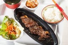 Beef teriyaki set. A set menu beef teriyaki with salad rice and soup Japanese food Royalty Free Stock Photos