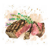 Beef with Thyme. Watercolor ribeye steak. Hand drawn illustration. Isolated on white background Royalty Free Stock Photography