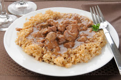 Beef tips and brown rice Stock Images