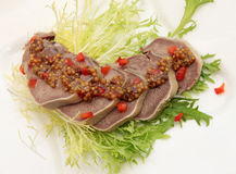 Beef Tongue with the mustard sauce Royalty Free Stock Image