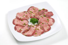 Beef tongue sliced Royalty Free Stock Image