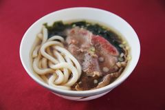 Beef Udon noodles. On a bowl royalty free stock photography