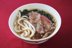 Beef Udon noodles. On a bowl stock photo