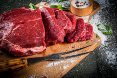Beef, veal. Fresh raw tenderloin Royalty Free Stock Photos