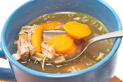 Beef and vegetable broth in  bowl Royalty Free Stock Photos