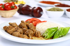 Beef and vegetable casserole served with rice Royalty Free Stock Photo