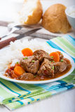Beef and vegetable casserole served with rice Royalty Free Stock Image