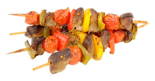 Beef And Vegetable Kebabs Stock Images