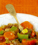 Beef Vegetable Stew with Orange Background. Royalty Free Stock Image
