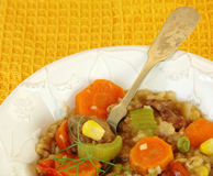 Beef Vegetable Stew with Yellow Background. Royalty Free Stock Images