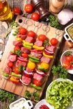 Beef and vegetable on stick royalty free stock photos